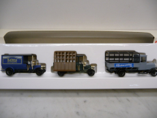 1884 LKW Set 3-teilig Vollmetall Glastransportert und Pritschen LKW mit Plangestell - Märklin H0