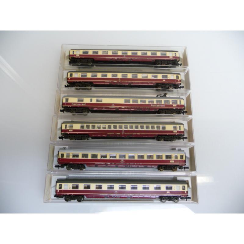 Fleischmann N 1:160 TEE/IC Set 6-teilig rot / beige 8160 8161 8162 8163 8164 8169 WIE NEU in OVP