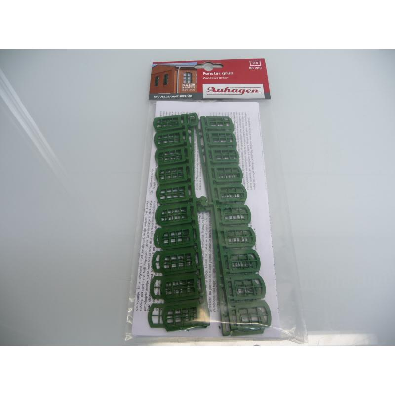 80 209 Fenster in grün - Modellbahnzubehör