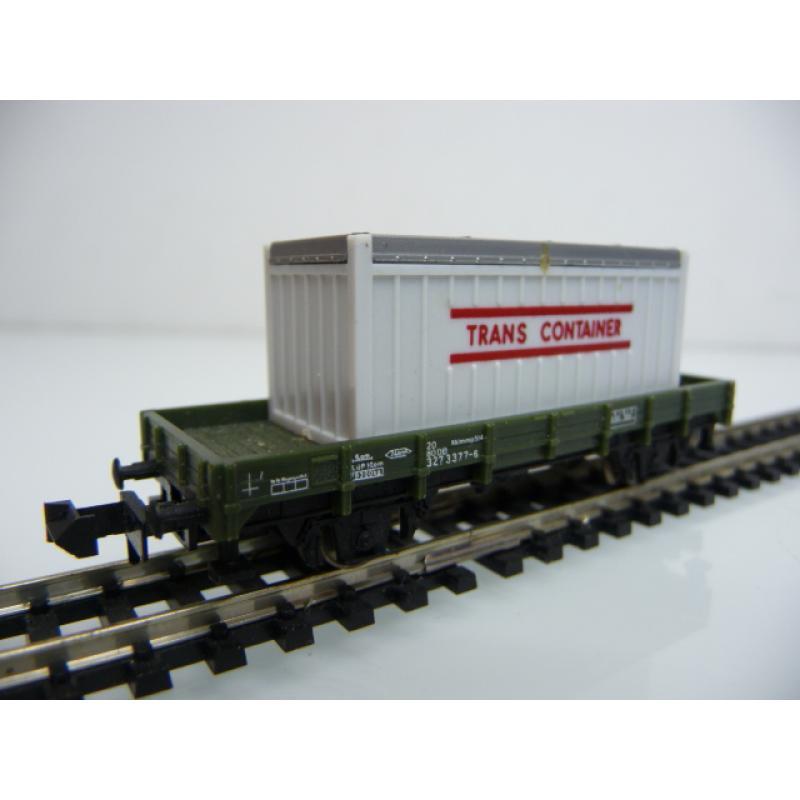 Minitrix N 13590 Niederbordwagen 327 3 377-6 mit Container TRANS CONTAINER