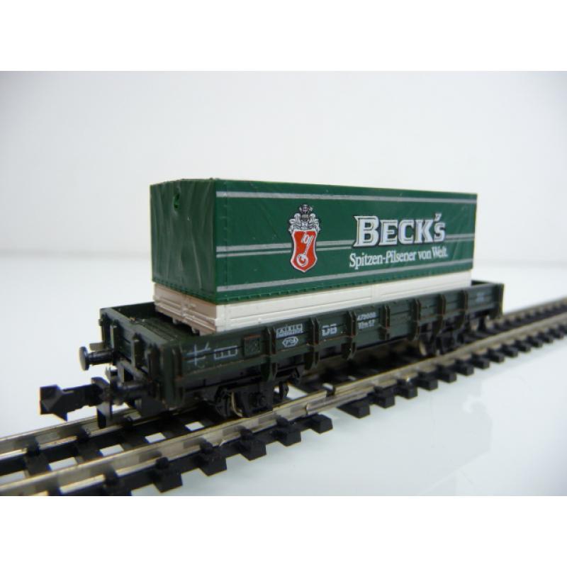 Minitrix N 51 3172 00 Niederbordwagen 472000 mit BECKS Container