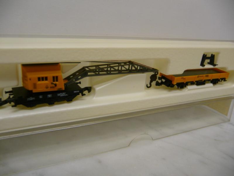 8657 Set von bewegliche Kranwagen und Niederbordwagen der DB - gelb - Märklin Z