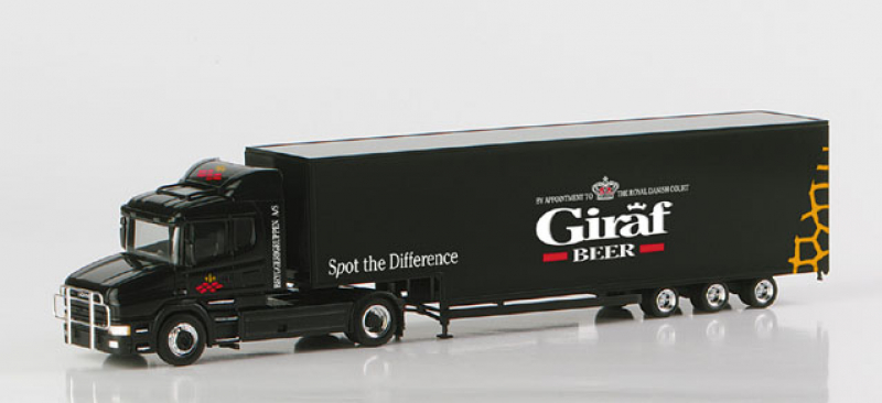 148573 Scania Hauber Jumbokoffer-Sattelzug Giraf-Beer Herpa H0