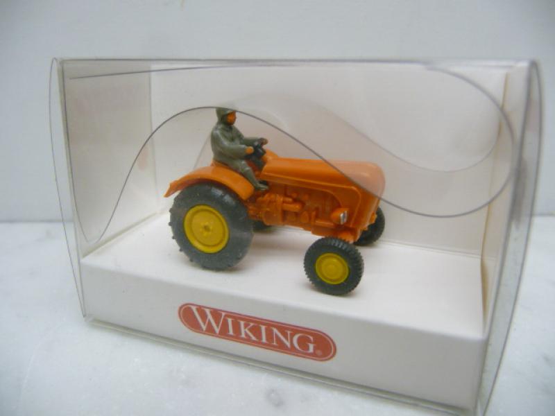 878 02 21 Porsche Schlepper / Traktor orange in OVP Wiking H0