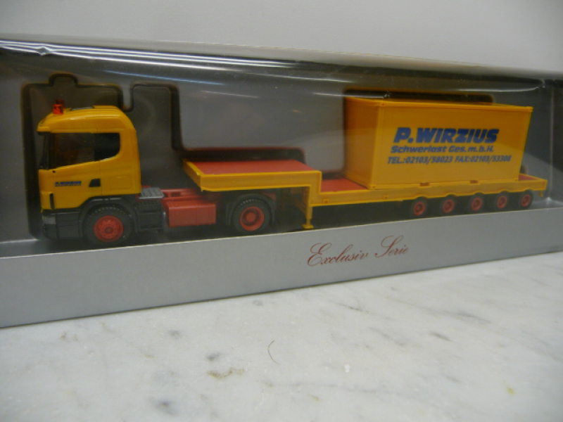 231138 Scania 144 Tieflade-SZ Container Wirzius Herpa H0
