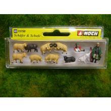 65602 Schafweide-Set mit Grasmatte, Schaffiguren, Büschen und Steinen - Noch H0