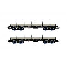 HR6477 2-teilges Flachwagen Set beladen mit Röhren Thyssen Ep. IV Remms - Rivarossi H0