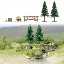 6010 H0 Motiv-Set: Am kleinen Teich Busch H0