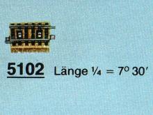 5102 Gebogenes Gleis R2 7,5 Grad 1/4 Metallgleis
