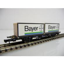 Minitrix N 15210 Container-Tragwagen 2-achsig mit zwei Containern Bayer