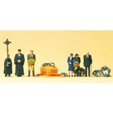 10519 Miniaturfiguren für Beerdigung mit Geistlichem - Preiser H0